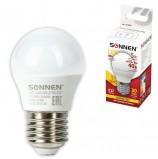 Лампа светодиодная SONNEN, 5 (40) Вт, цоколь E27, шар, теплый белый свет, LED G45-5W-2700-E27, 453699