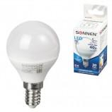 Лампа светодиодная SONNEN, 5 (40) Вт, цоколь E14, шар, холодный белый свет, LED G45-5W-4000-E14, 453702