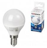 Лампа светодиодная SONNEN, 7 (60) Вт, цоколь Е14, шар, холодный белый свет, LED G45-7W-4000-E14, 453706