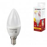 Лампа светодиодная SONNEN, 5 (40) Вт, цоколь Е14, свеча, теплый белый свет, LED C37-5W-2700-E14, 453709