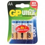 Батарейки GP Ultra Plus, AA (LR06, 15А), алкалиновые, комплект 4 шт., в блистере, 15AUP-2CR4