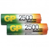 Батарейки аккумуляторные GP, АА, Ni-Mh, 2500 mAh, комплект 2 шт., в блистере, 250AAHC-2DECRC2