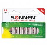 Батарейки SONNEN Super Alkaline, АА (LR06, 15А), алкалиновые, 10 шт., в коробке, 454231