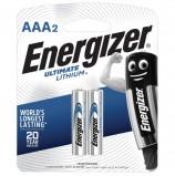 Батарейки ENERGIZER Ultimate Lithium, AAA (FR03, 24А), литиевые,КОМПЛЕКТ 2 шт., в блистере, 639170