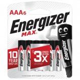 Батарейки ENERGIZER Max, AAA (LR03, 24А), алкалиновые, КОМПЛЕКТ 6 шт., в блистере, E301532701
