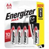 Батарейки ENERGIZER Max, ПРОМО 3+1, AA(LR06, 15А), алкалиновые, КОМПЛЕКТ 4 шт., в блистере, E300247800S