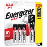 Батарейки ENERGIZER Max, ПРОМО 3+1, AAA(LR03, 24А), алкалиновые, КОМПЛЕКТ 4 шт., в блистере, E300248501S
