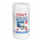 Чистящие салфетки для экранов и пластика универсальные STAFF, 10х12 см, туба 100 шт., влажные, 512657