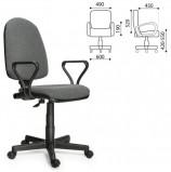 Кресло 'Престиж', регулируемая спинка, с подлокотниками, серое, В-3