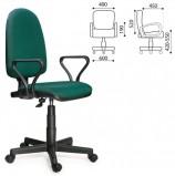 Кресло 'Престиж', регулируемая спинка, с подлокотниками, черно-зеленое