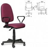 Кресло 'Престиж', регулируемая спинка, с подлокотниками, черно-бордовое