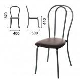 Стул для столовых, кафе, дома 'Вереск', черный каркас, кожзам черный, СМ7/6-05 К-01
