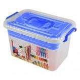 Ящик 7 л, с крышкой на защелках + вкладыш, 'Школа', 18х31х20 см, пластиковый, синий, прозрачный, 4380902