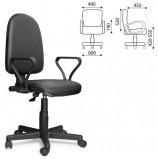 Кресло 'Престиж', регулируемая спинка, с подлокотниками, кожзам, черное