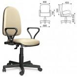 Кресло 'Престиж', регулируемая спинка, с подлокотниками, кожзам, бежевое