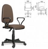 Кресло 'Престиж', регулируемая спинка, с подлокотниками, светло-коричневое