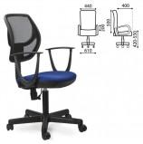 Кресло BRABIX 'Flip MG-305', до 80 кг, с подлокотниками, комбинированное синее/черное TW, 531415