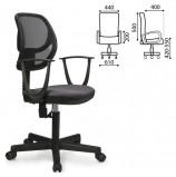 Кресло BRABIX 'Flip MG-305', до 80 кг, с подлокотниками, комбинированное серое/черное TW, 531416