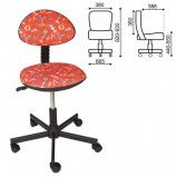 Кресло детское КР09Л, без подлокотников, красное с рисунком, КР01.00.09Л-254