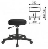 Кресло РС12, без спинки, без подлокотников, кожзам, черное, РС01.00.12 б/сп
