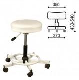 Кресло РС12, без спинки, без подлокотников, кожзам, белое, РС01.00.12 б/сп