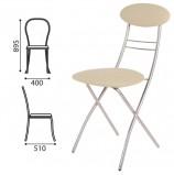 Стул для столовых, кафе, дома складной РС35, серебристый каркас, кожзам бежевый, РС01.00.35-506-