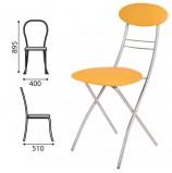 Стул для столовых, кафе, дома складной РС35, серебристый каркас, кожзам коричневый, РС01.00.35-523-