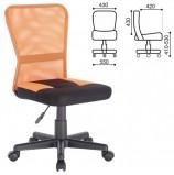 Кресло компактное BRABIX 'Smart MG-313', без подлокотников, комбинированное, черное/оранжевое