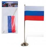 Флаг России, 12х18 см, напольный с флагштоком, высота 30 см, пластик под золото, упаковка с европодвесом, 550023