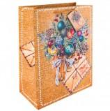 Пакет подарочный ламинированный, 17,8х22,9х9,8 см, 'Еловый букет', ПЛОТНЫЙ, 250 г/м2, 75337