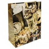 Пакет подарочный ламинированный, 26х32,4х12,7 см, 'Золотые бокалы', 140 г/м2, 75329