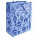 Пакет подарочный ламинированный, 26х32,4х12,7 см, 'Синие новогодние шары', ПЛОТНЫЙ, 250 г/м2, 75365