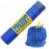 Мешки для мусора, 60 л, завязки, синие, в рулоне 20 шт., ПНД, 15 мкм, 60х70 см, прочные, КОНЦЕПЦИЯ БЫТА 'Гранит', 1022