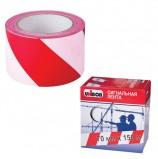 Лента сигнальная красно-белая, 70 мм х 150 м, UNIBOB, в коробке-диспенсере, основа полиэтилен, 45247