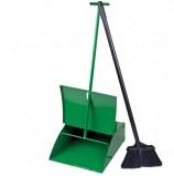 Совок для мусора металлический с крышкой + щетка с металлической ручкой 75 см (набор для подметания), СОВ 079