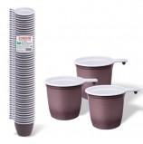 Одноразовые чашки для чая и кофе 200 мл, КОМПЛЕКТ 50 шт., пластиковые, 'БЮДЖЕТ', бело-коричневые, ПП, ЛАЙМА, 600940