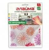 Салфетка универсальная, микрофибра с узором (цветы), 30х30 см, ЛАЙМА, 601246