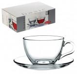Набор чайный 'Basic' на 6 персон (6 кружек 215 мл, 6 блюдец), стекло, PASABAHCE, 97948
