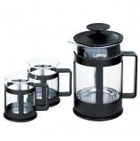 Набор ЛАЙМА 'Утро', френч-пресс 800 мл + 2 стакана 200 мл, жаропрочное стекло/пластик, черный, 601370