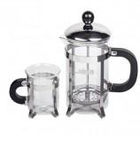 Набор ЛАЙМА 'Классик', френч-пресс 600 мл + 2 стакана 200 мл + ложка, жаропрочное стекло/пластик/нержавеющая сталь, 601372