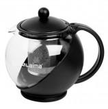 Заварник (чайник) ЛАЙМА 'Бергамот', 1,25 л, стекло/пластик/фильтр - нержавеющая сталь, черный, 601373