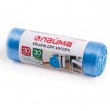 Мешки для мусора 30 л, синие, в рулоне 30 шт., ПНД, 10 мкм, 50х60 см (±5%), прочные, ЛАЙМА, 601378