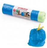 Мешки для мусора 30 л, завязки, синие, в рулоне 20 шт., ПНД, 12 мкм, 50х60 см (±5%), прочные, ЛАЙМА, 601395