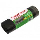 Мешки для мусора 60 л, завязки, черные, в рулоне 20 шт., ПНД, 15 мкм, 60х70 см (±5%), прочные, ОФИСМАГ, 601398