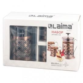 Набор ЛАЙМА 'Голд', френч-пресс 800 мл + 4 стакана 200 мл, жаропрочное стекло/нержавеющая сталь, 601531