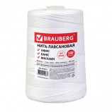 Нить лавсановая для прошивки документов, БЕЛАЯ, диаметр 1,5 мм, длина 500 м, ЛШ 460, BRAUBERG, 601812