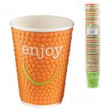 Одноразовые стаканы 300 мл, КОМПЛЕКТ 40 шт., бумажные однослойные, цветная печать, холодное/горячее, ХУХТАМАКИ 'ENJOY'