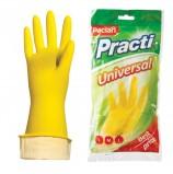 Перчатки хозяйственные резиновые PACLAN 'Universal', с х/б напылением, размер L (большой), желтые