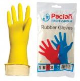 Перчатки хозяйственные резиновые PACLAN 'Professional', с х/б напылением, размер L (большой), желтые