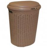 Корзина 50 л, с крышкой, для мусора/белья, овальная, пластик, 53х43х34 см, коричневая, 'Ротанг', IDEA, М 2601